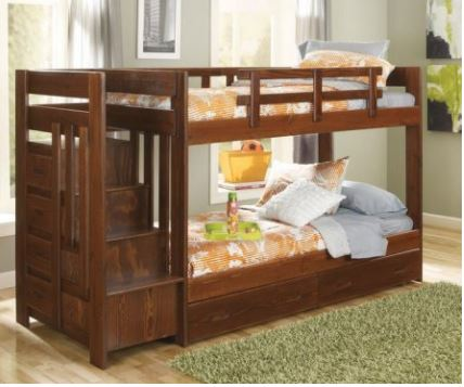 Chelsea Home Twin Over Twin Reversible Stair Bunk Bed Underbed Storage Dark