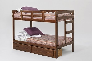 Chelsea Home Twin Over Twin Rustic Brown Bed Storage