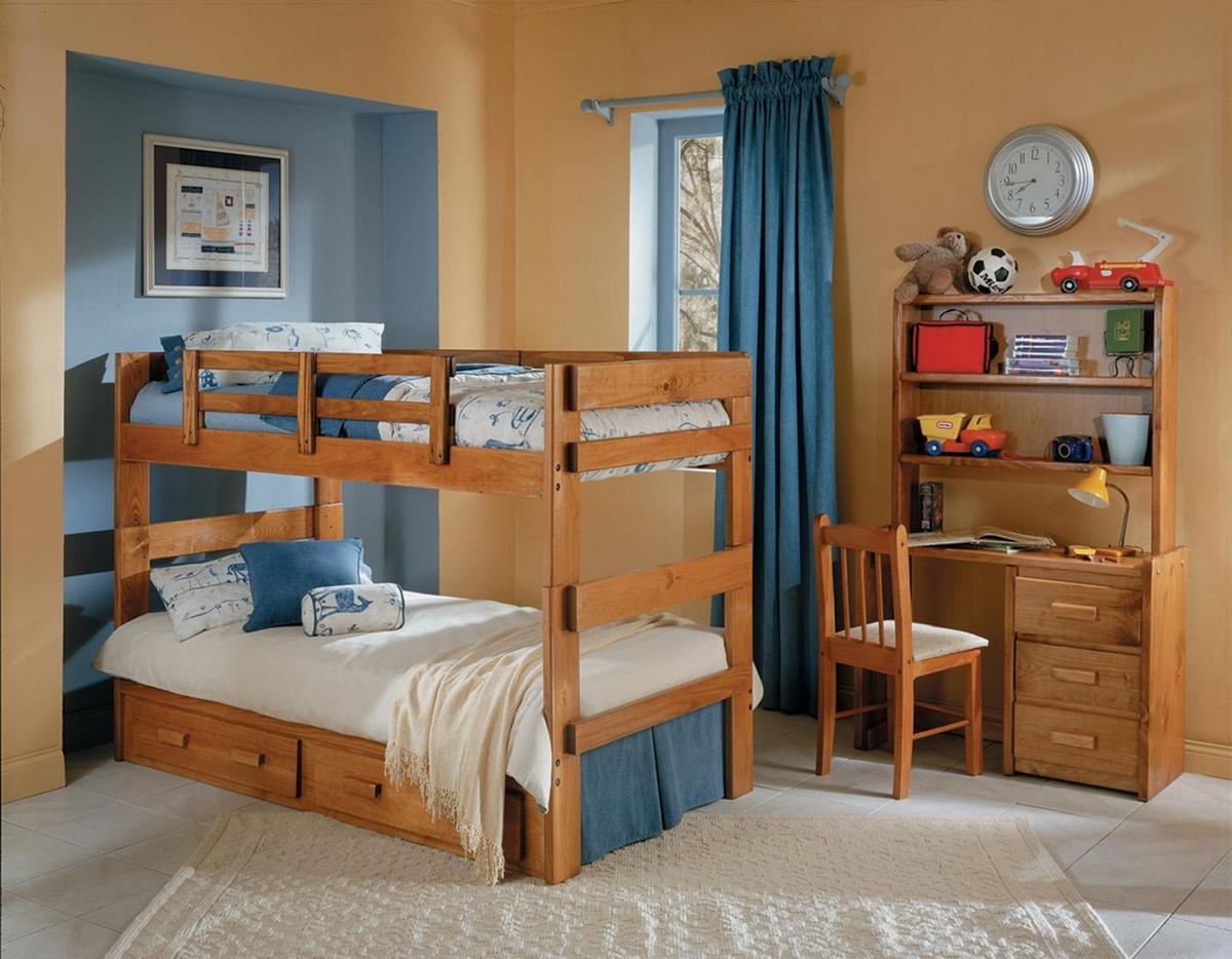 Chelsea Home Twin Over Twin Split Bunk Bed Underbed Storage Honey