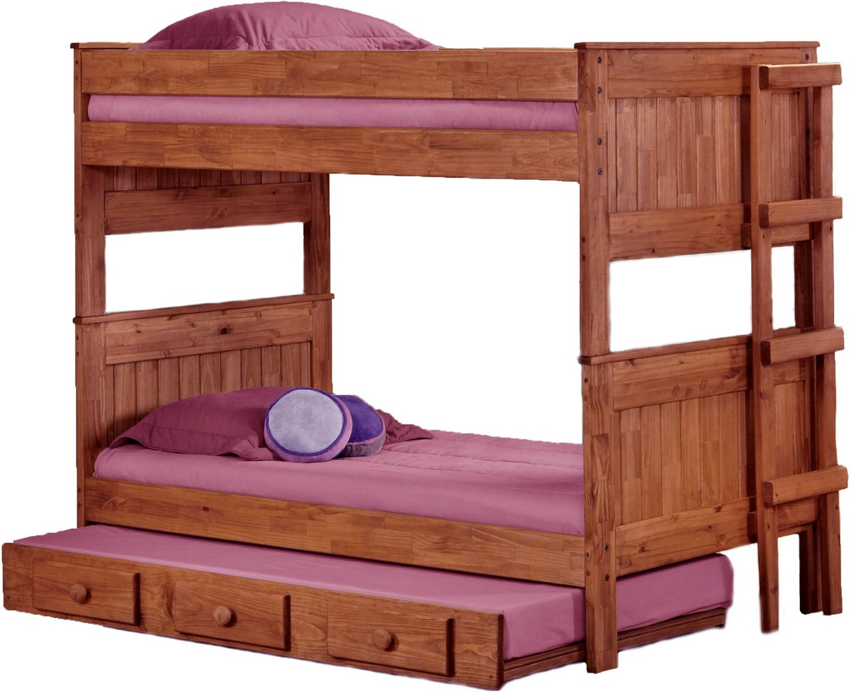 Chelsea Home Twin Stackable Bunk Bed Trundle Mahogany Stain