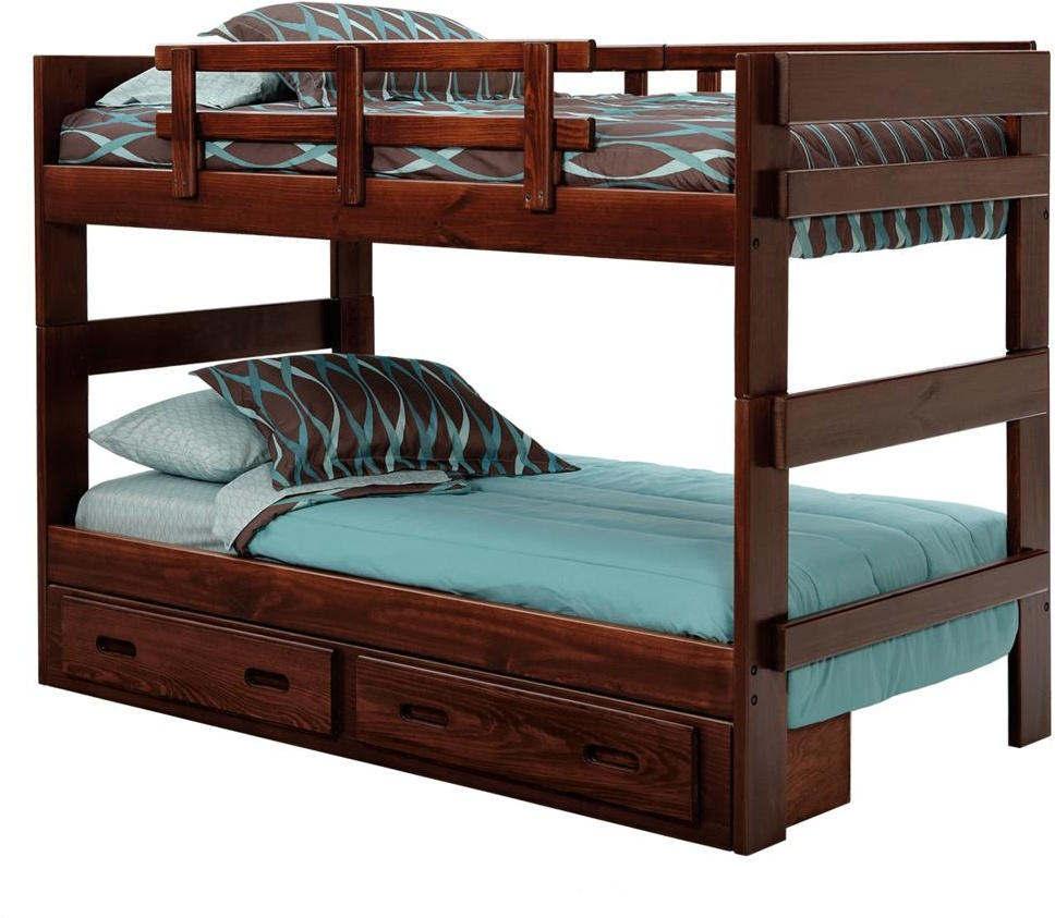Chelsea Home Twin Over Twin Stacking Bunk Bed Underbed Storage Dark