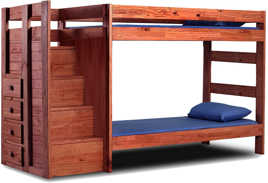 Chelsea Home Furniture Twin Staircase Bunk Bed Mahogany Stain Photo