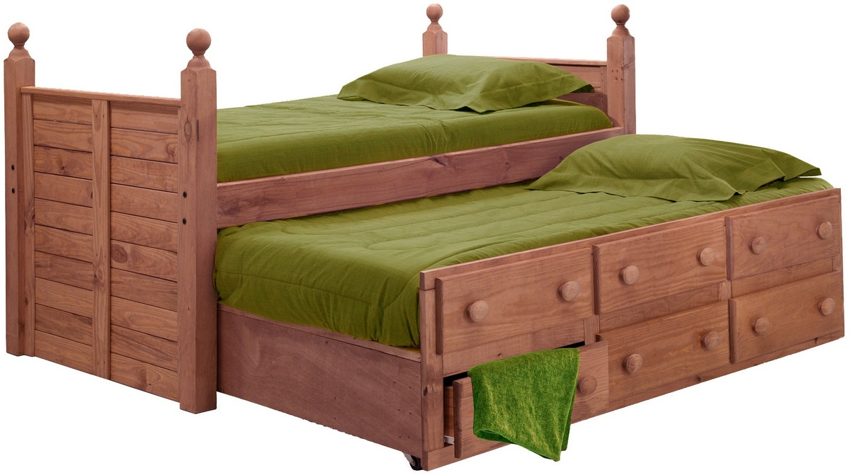 Chelsea Home Twin Panel Post Bed Twin Trundle Mahogany Stain