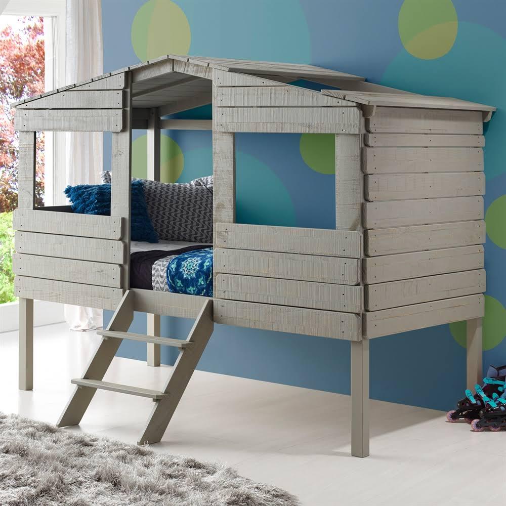 Donco Kids Twin Tree Low Loft Bed Rustic Grey
