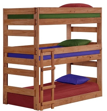 Chelsea Home Twin Triple Bunk Bed Mahogany Stain