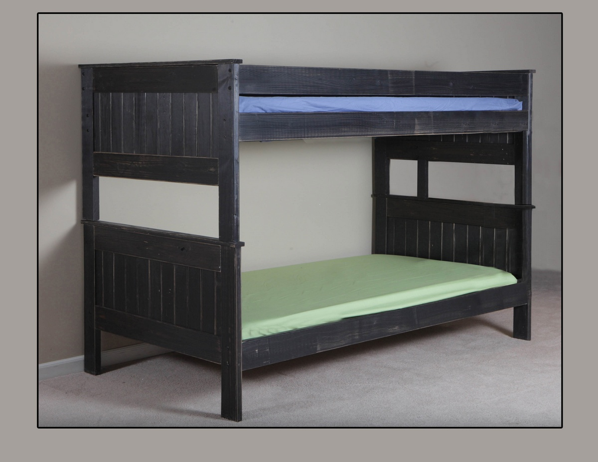 Chelsea Home Twin Twin Stackable Bunk Beds Black Distressed
