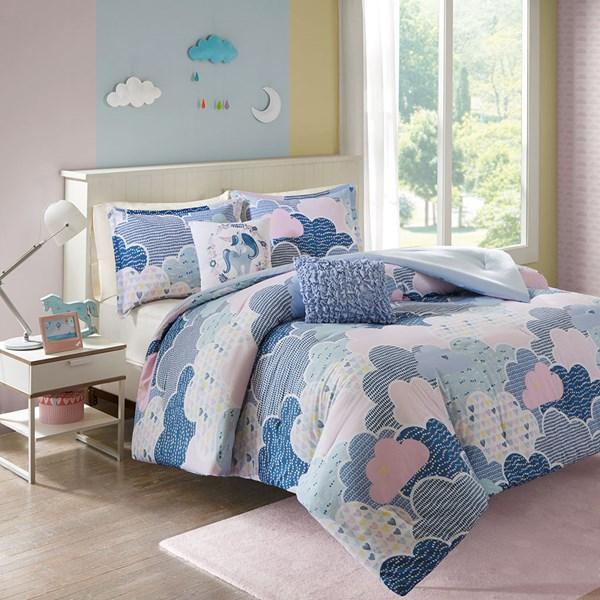 Urban Habitat Kids Cloud Twin/Twin XL Cotton Printed Comforter Set in Blue - Olliix UHK10-0017