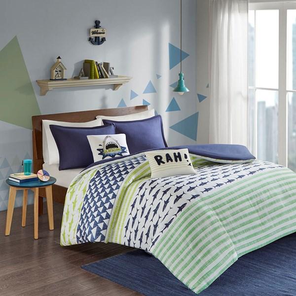Urban Habitat Kids Finn Full/Queen Duvet Cover Set in Green / Navy - Olliix UHK12-0039