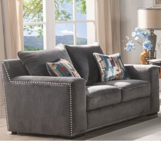 Acme Ushury Loveseat Pillows Gray Fabric