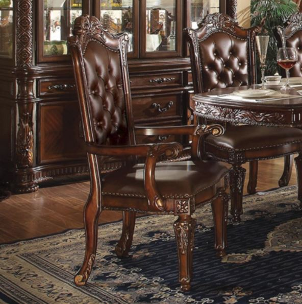 Acme Arm Chair Set Pu Cherry