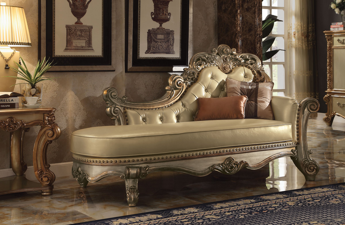 Acme Chaise Pillows Bone Pu Gold Patina