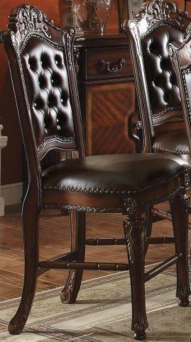 Acme Counter Height Chair Set Pu Cherry