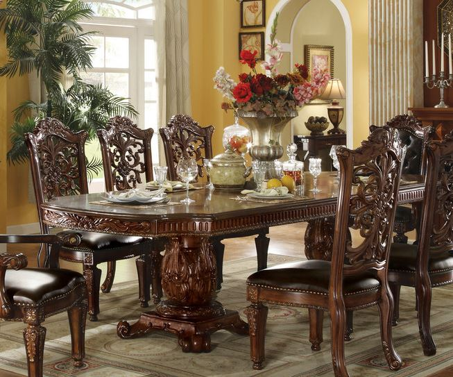 Acme Dining Table Double Pedestal Cherry