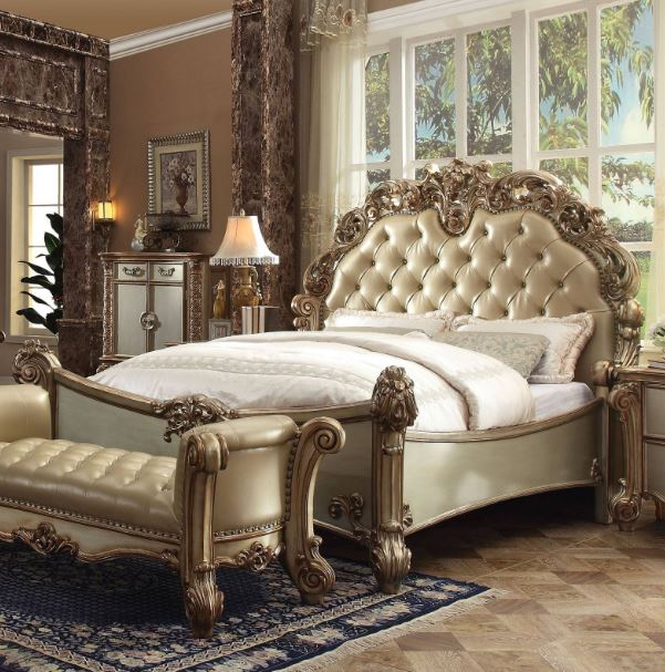 Acme Eastern King Bed Bone Pu Gold Patina