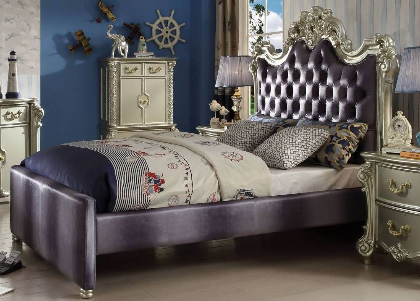Acme Full Bed Gray Fabric Champagne