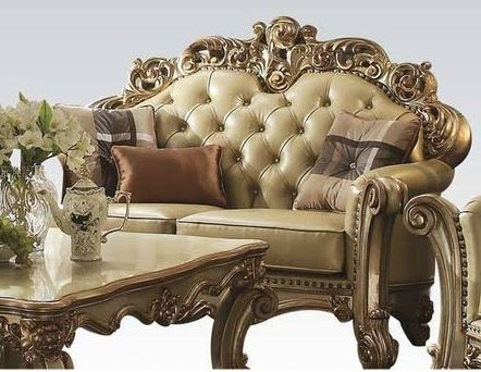 Acme Loveseat Pillows Bone Pu Gold Patina