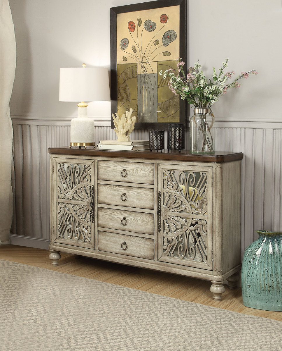 Acme Vermont Console Table Door Drawers Antique White