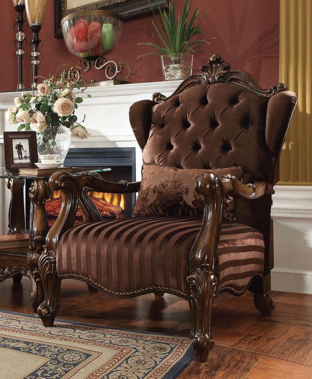 Acme Chair Pillow Brown Velvet Cherry Oak