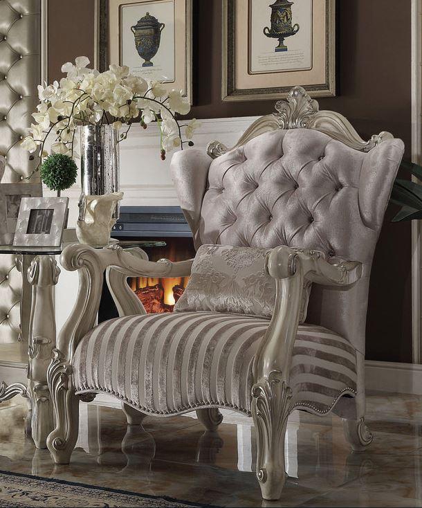 Acme Chair Pillow Ivory Velvet Bone White