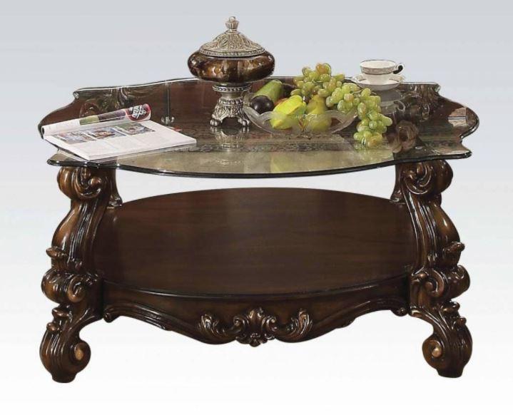 Acme Coffee Table Cherry Oak Clear Glass