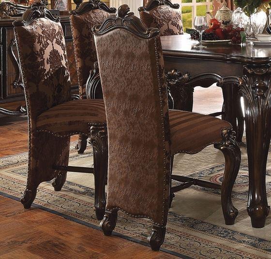 Acme Counter Height Chair Set Tone Light Brown Pu Fabric Cherry Oak