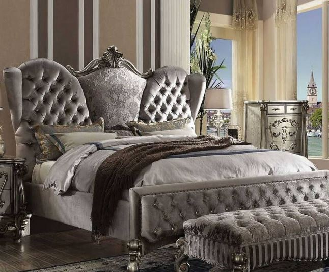 Acme Eastern King Bed Velvet Antique Platinum
