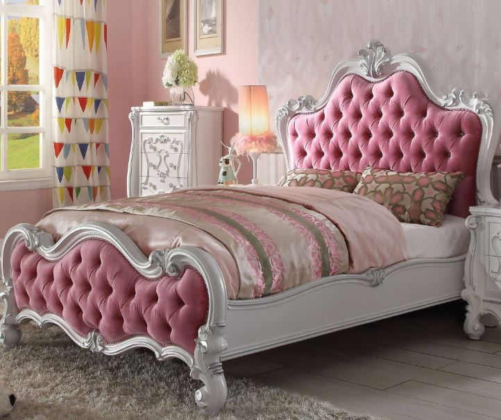 Acme Full Bed Pink Fabric Antique White