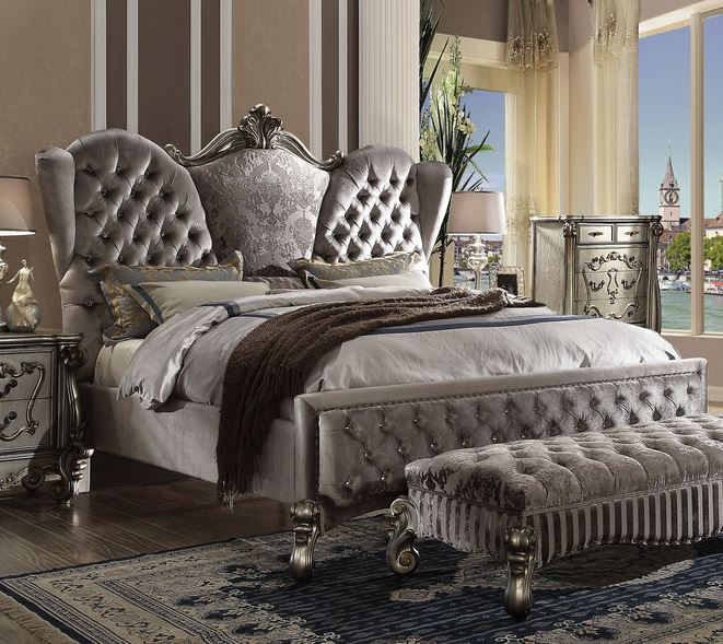 Acme Queen Bed Velvet Antique Platinum