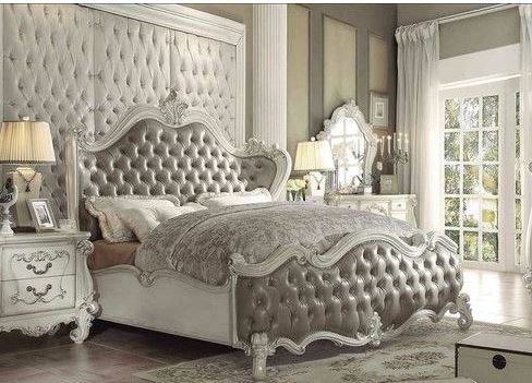 Acme Queen Bed Vintage Gray Pu Bone White