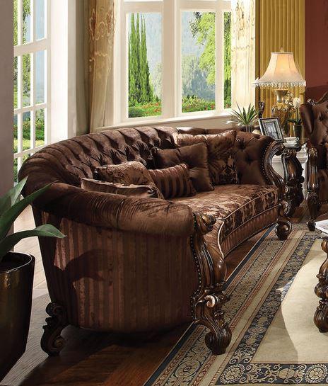 Acme Sofa Pillows Brown Velvet Cherry Oak