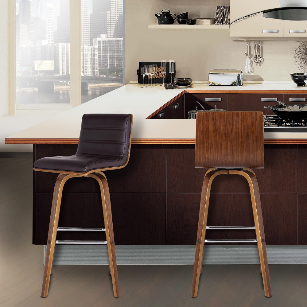 Armen Living Viper 30 Bar Height Swivel Barstool in Grey Faux Leather and Black Wood Finish