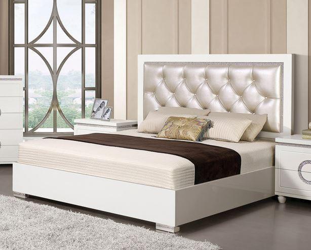 Acme Vivaldi Queen Bed Pearl Pu White High Gloss