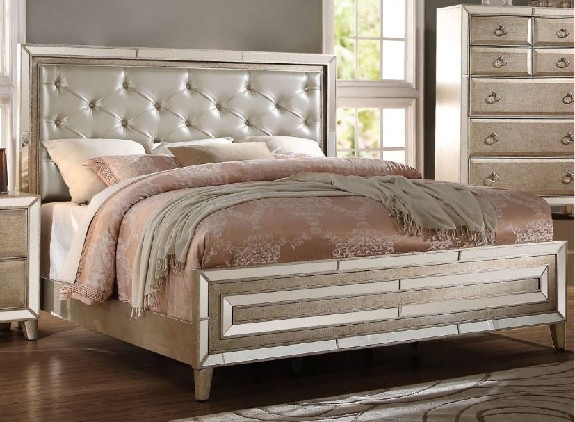 Acme Eastern King Bed Matte Gold Pu Antique Gold