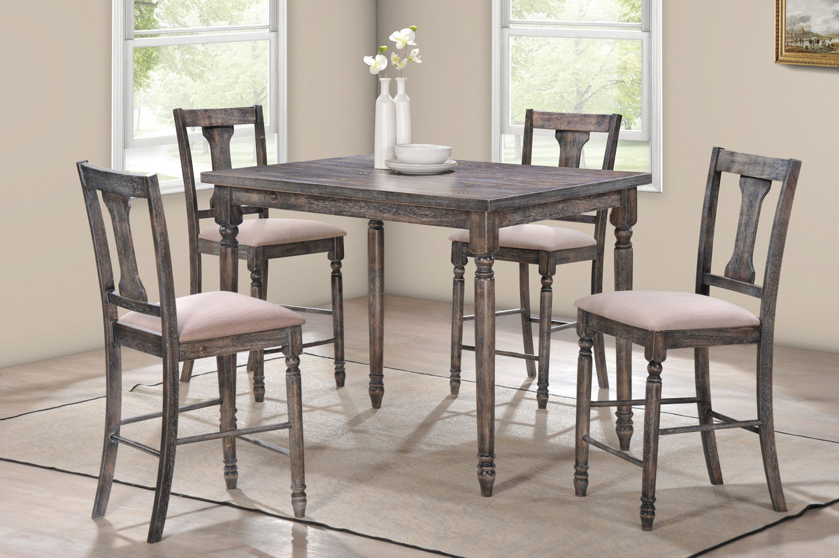 Acme Wallace Pk Counter Height Set Weathered Gray Tan Linen