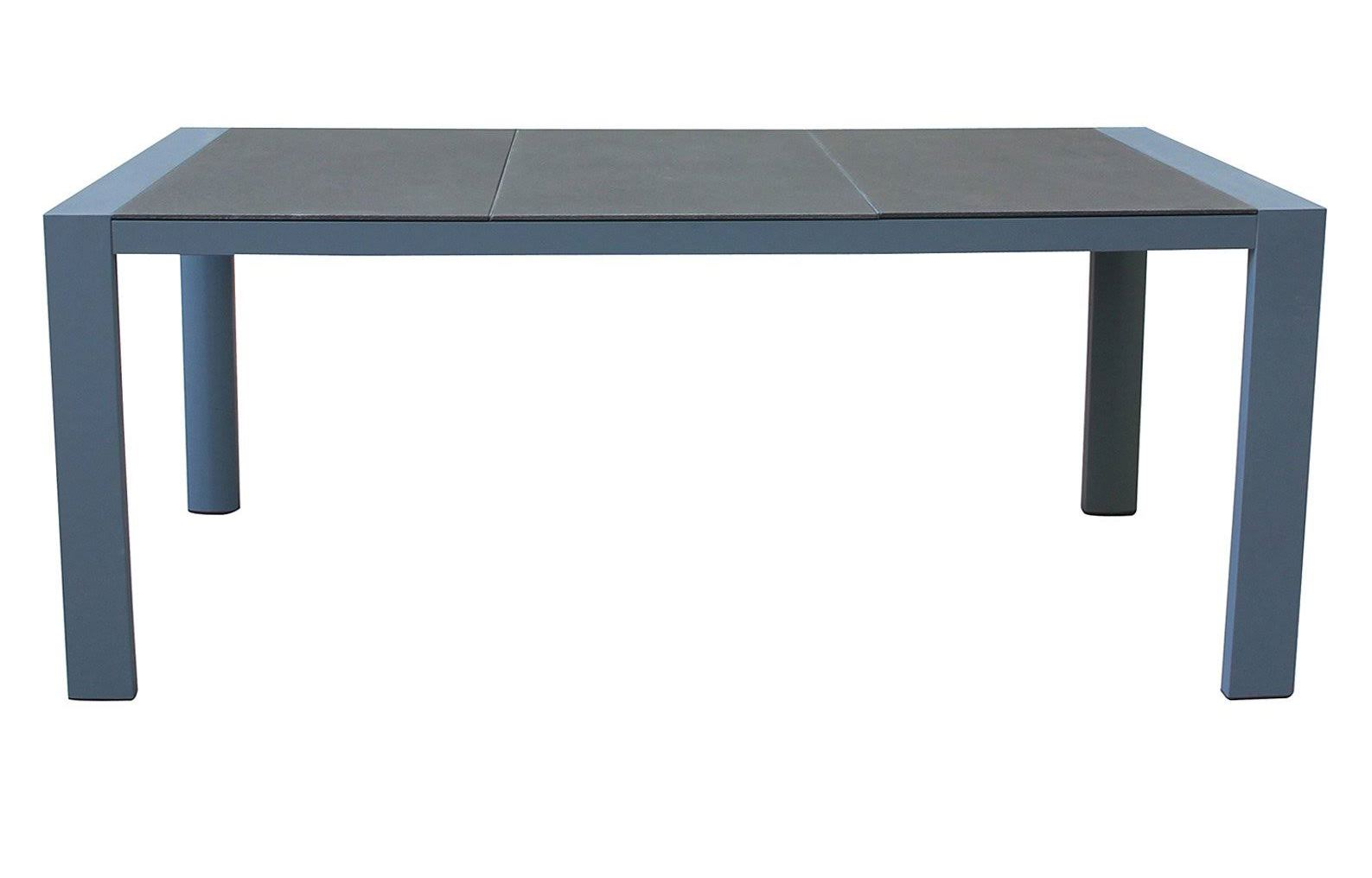 Armen Living Westport Outdoor Patio Dining Table Gray Powder Coated