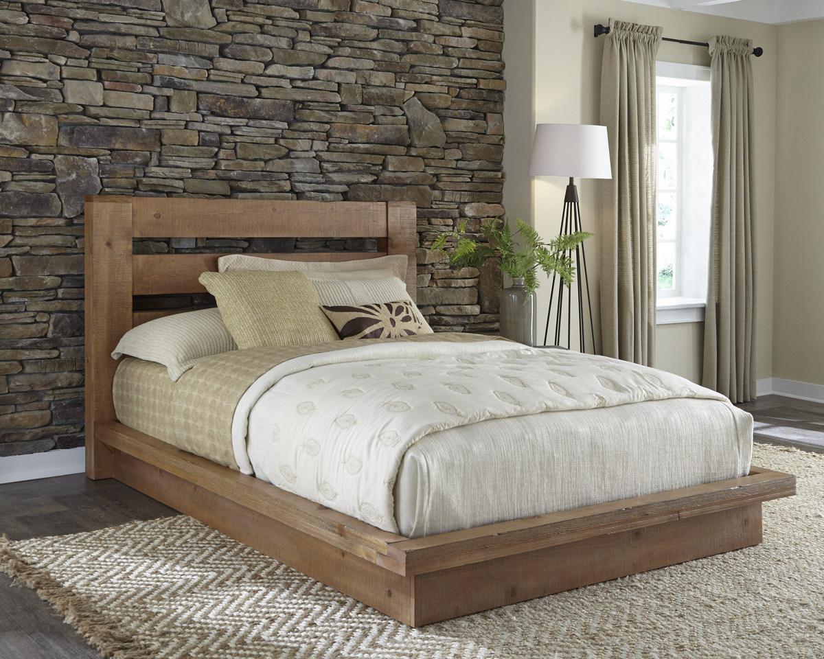 Progressive Complete King Platform Bed Distressed Pine