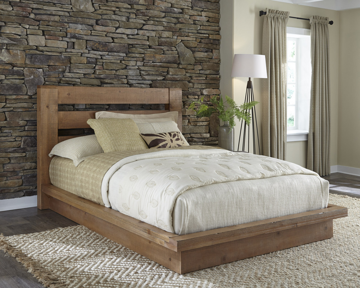 Progressive Complete Queen Platform Bed Distressed Pine