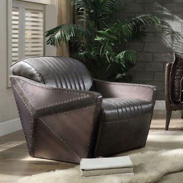 Acme Winchester Chair Aluminum Distress Espresso Grain Leather