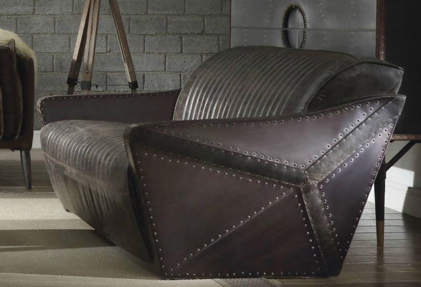 Acme Winchester Loveseat Aluminum Distress Espresso Grain Leather