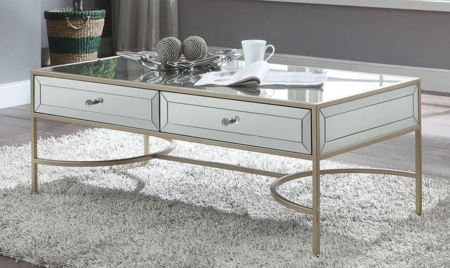 Acme Wisteria Coffee Table Mirrored Rose Gold