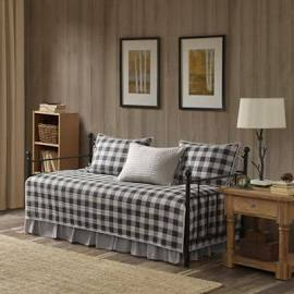 Woolrich Buffalo Check Daybed 5 Piece Day Bed Cover Set in Gray - Olliix WR13-2024