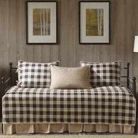 Woolrich Buffalo Check Daybed 5 Piece Day Bed Cover Set in Tan - Olliix WR13-2023