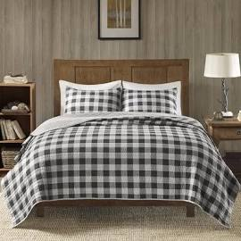 Woolrich Buffalo Check Full/Queen Oversized Quilt Mini Set in Gray - Olliix WR14-2021