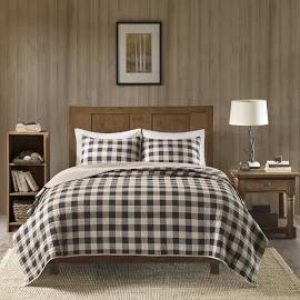 Woolrich Buffalo Check King/Cal King Oversized Quilt Mini Set in Tan - Olliix WR14-2020