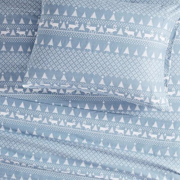 Woolrich Flannel Cal King Sheet Set in Blue Winter Frost - Olliix WR20-2033
