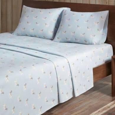 Woolrich Flannel King Sheet Set in Blue Dog - Olliix WR20-2035