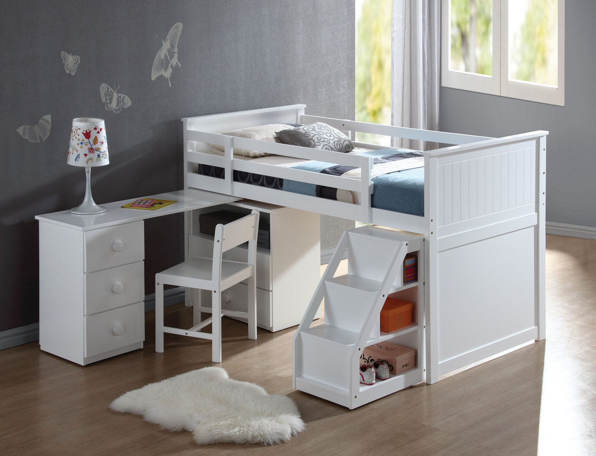 Acme Wyatt Loft Bed Chest Swivel Desk Ladder White