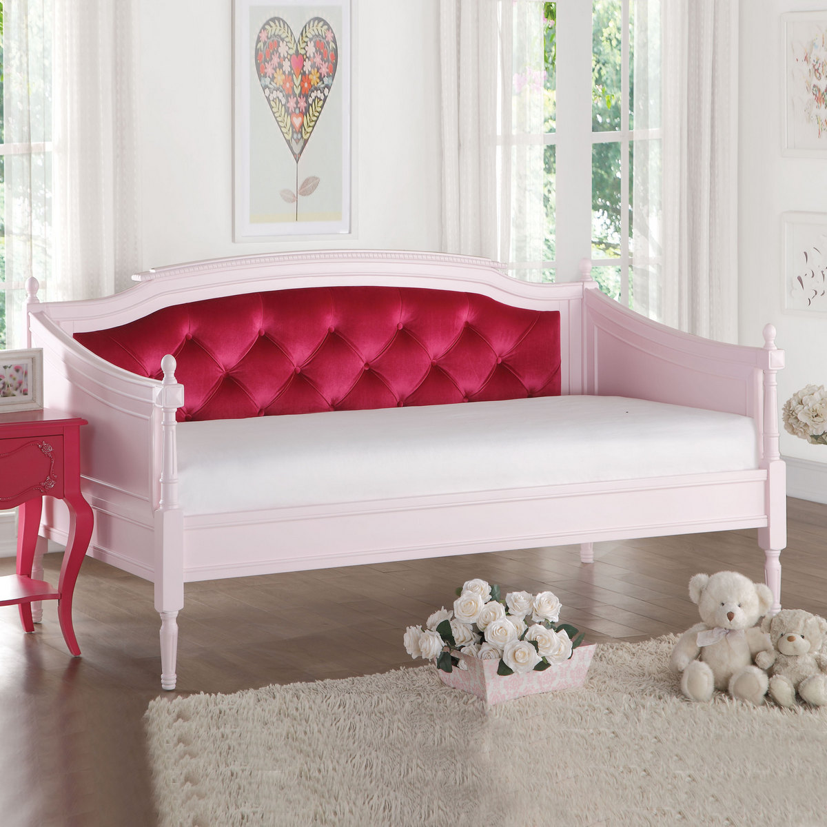 Acme Wynell Daybed Red Velvet Pink