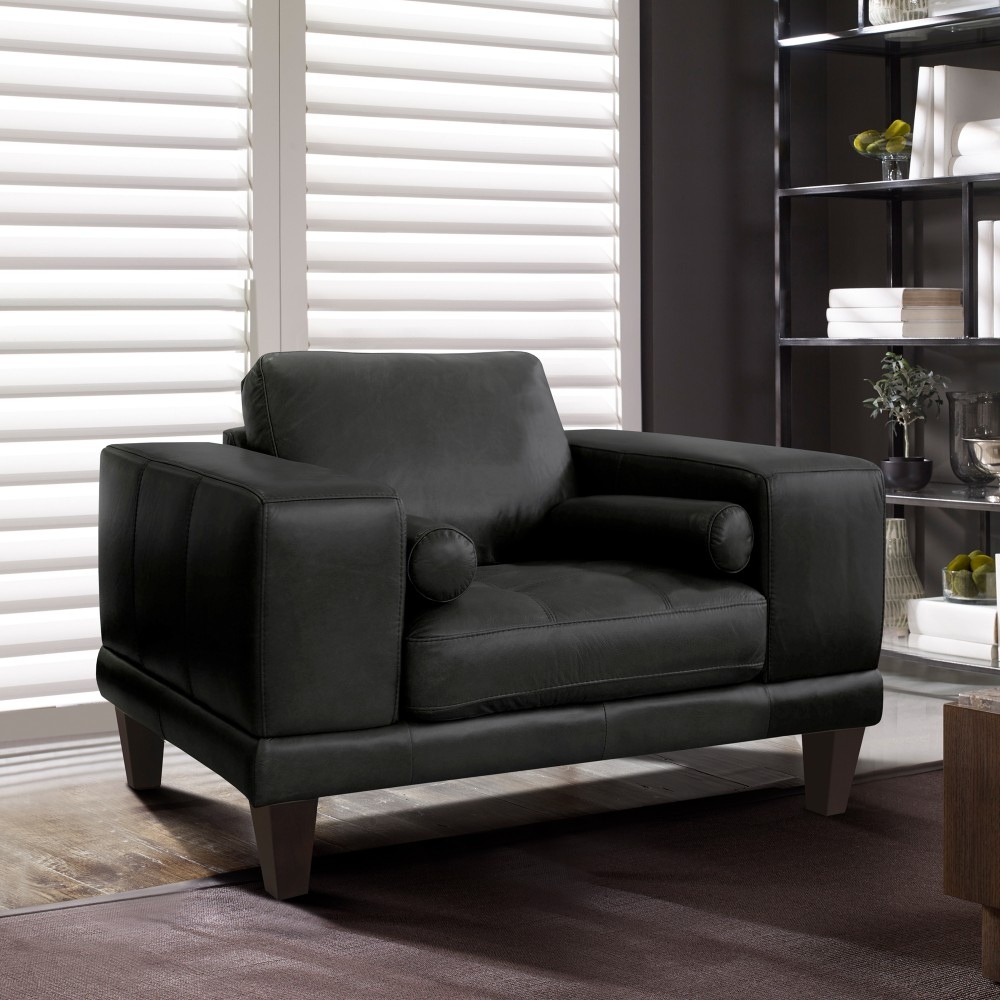 Armen Living Contemporary Chair Genuine Black Leather Brown Wood Legs