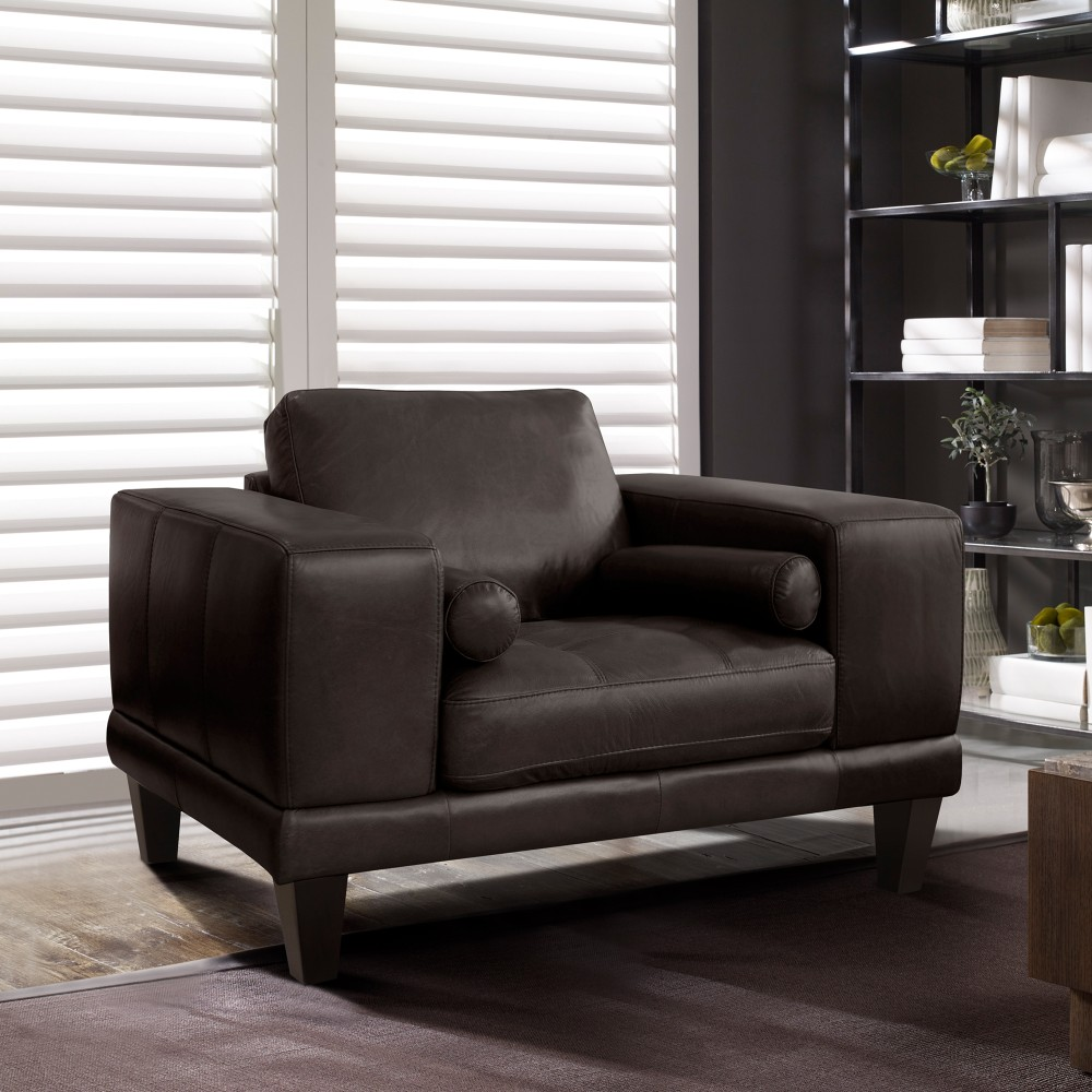 Armen Living Contemporary Chair Genuine Espresso Leather Brown Wood Legs